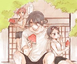 sasuke uchiha, naruto, and sakura haruno image