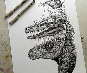 dinosaur, art, and drawing image