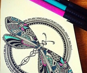 art, dragonfly, and drawing image