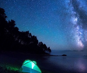beach, camp, and beautiful night image