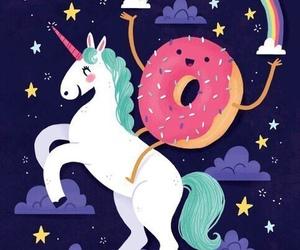 unicorn, donuts, and rainbow image