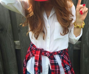 red nails, white shirts, and gold bracelet image