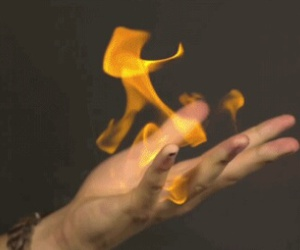 fire, hand, and power image
