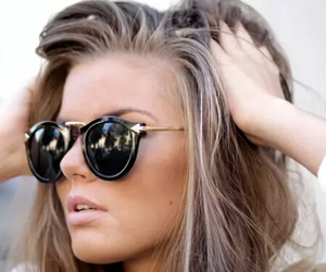 sunglasses, hair, and style image