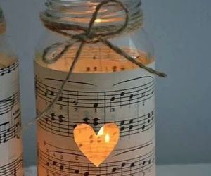 music, candle, and heart image