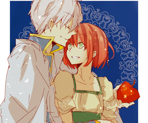 red hair, anime, and apple image