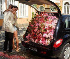 love, flowers, and car image