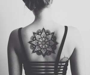 tattoo, mandala, and black and white image