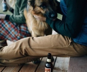 beer, dog, and friend image