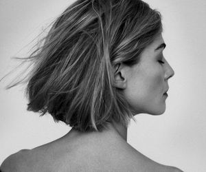 rosamund pike, actress, and black and white image