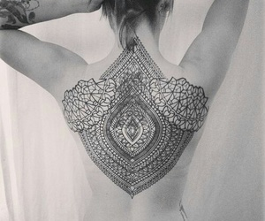 back, black and white, and mandala image