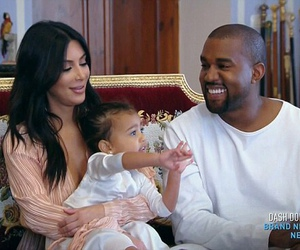 kim kardashian, kanye west, and north west image