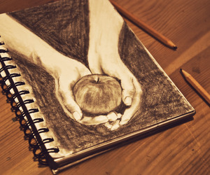 drawing, apple, and hands image