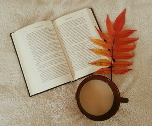 books, coffee, and fall image