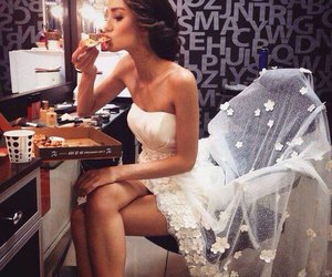 pizza, dress, and wedding image