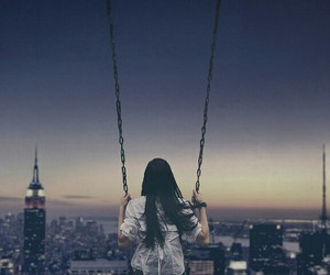 girl, city, and swing image