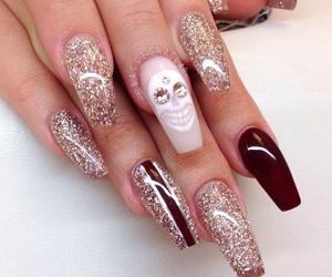nails, skull, and glitter image