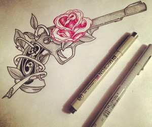 rose, tattoo, and art image
