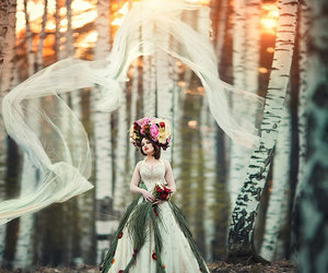 forest, dress, and flowers image
