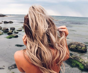 hair, blonde, and beach image