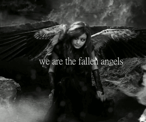 angel, black and white, and fallen image