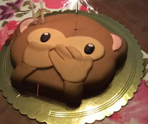 cake, monkey, and emoji image