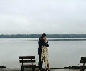 autumn, couple, and hug image