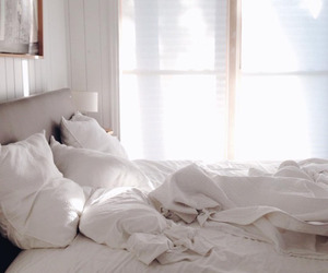 bed, cozy, and white image