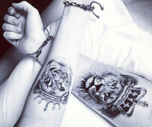 blackandwhite, ink, and lion image