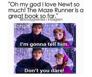the maze runner, newt, and book image