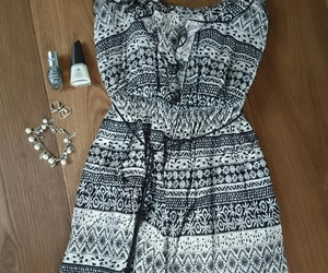 black and white, dress, and outfit image