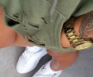 green, tattoo, and outfit image