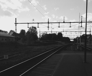 blackandwhite, train, and trainstation image