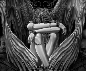 angel and black and white image
