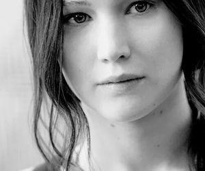 beautiful, black and white, and Jennifer Lawrence image