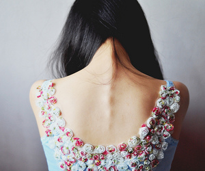 girl, back, and flowers image