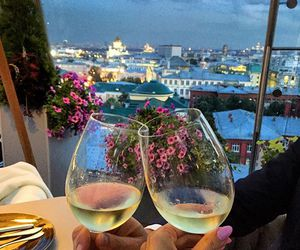 champagne, scenery, and drinks image