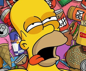 homer, food, and simpsons image