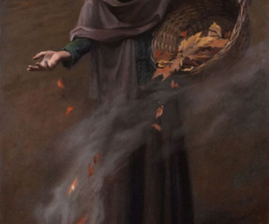 autumn, fire, and witch image