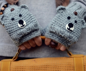 cute, gloves, and bear image