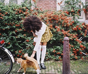 Afro, cat, and girl image