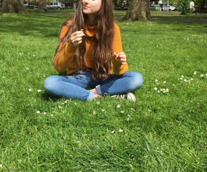 girl, flowers, and green image