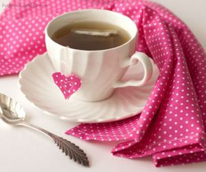 heart, pink, and tea image
