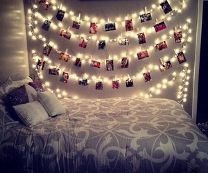 bedroom, christmaslights, and cuteroom image
