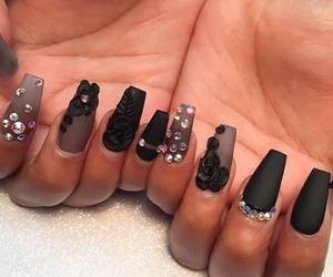 black, diamonds, and nails image