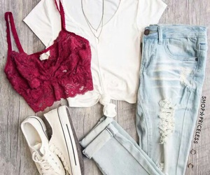 bralette, outfit, and red image