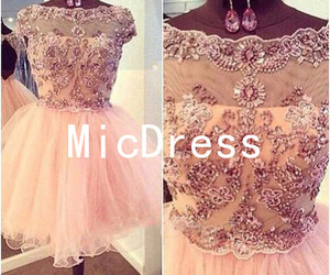 lace, party dress, and pink dress image