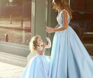 dress, blue, and daughter image