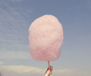 cotton candy, pink, and hand image
