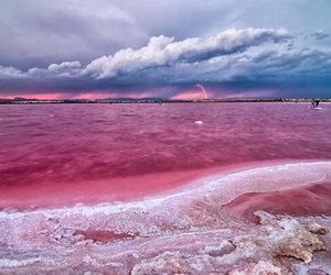 lake, mountains, and pink image